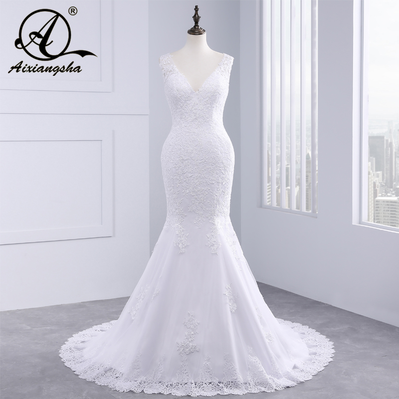 Vestido De Noiva Cheap Luxury Mermaid Wedding Dress Gowns Sexy V Neck Vintage Custom Made Lace Wedding Dresses 2018