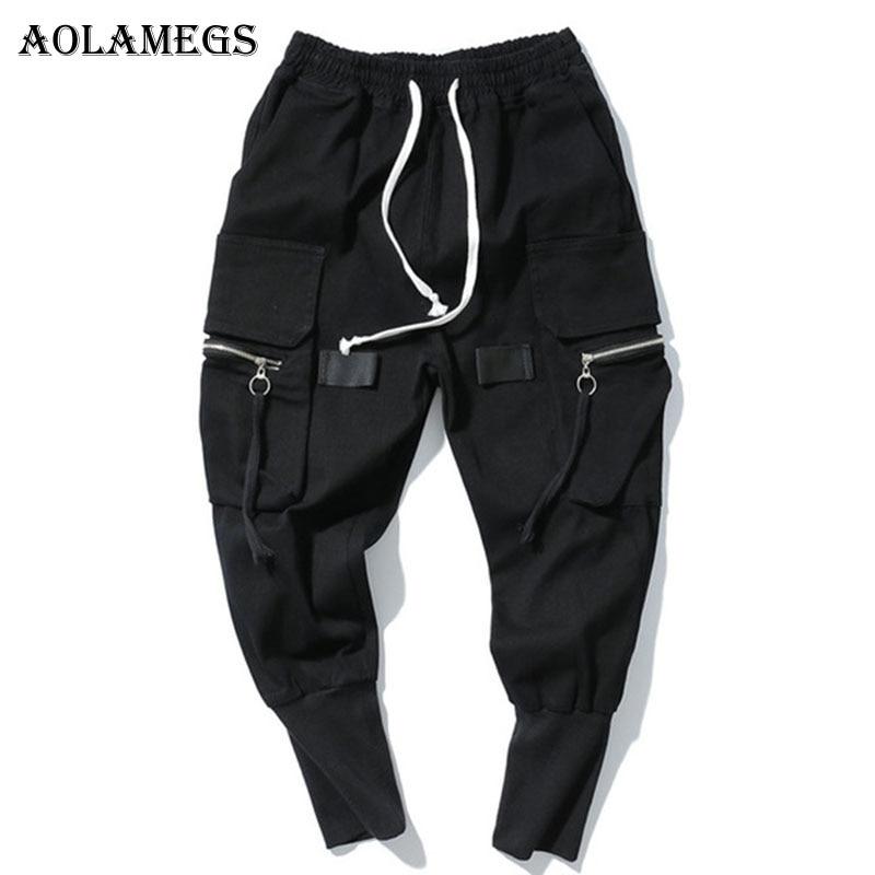 Aolamegs Cargo Pants Men Multi-Pockets Track Pants Male Zipper Trousers Elastic Waist Hip Hop Joggers Sweatpants Streetwear