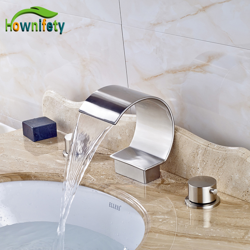 цена на Nickel Brushed Solid Brass Bathroom Sink Faucet Double Handles Waterfall Spout Deck Mount