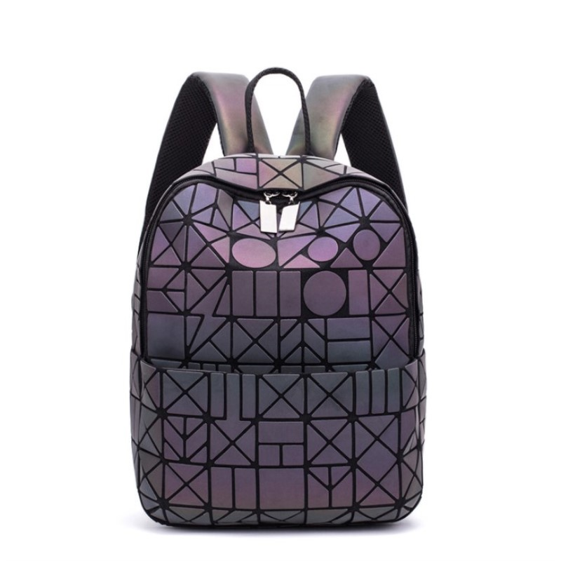 Newest Backpack Noctilucent Women Fashion Bags Laser Lattice Geometric Luminous Backpack For Teenage Girls School Bags