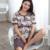 Pijamas de algodón Para las mujeres Pijamas de ropa de Dormir de Verano de manga Corta Longitud de La Rodilla Ancianos Establecidos Más El Tamaño M-4XL