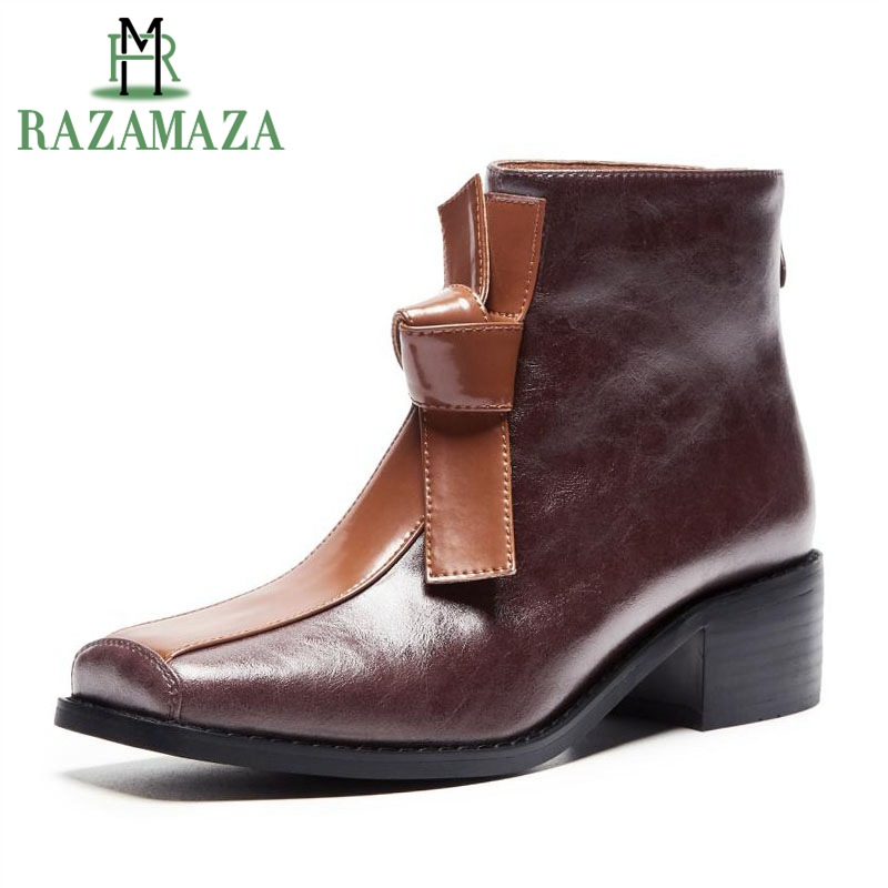 ZALAVOR Fashion British Ankle Boots Patchwork Square Toe Thick Fur Belt Bowtie Knot Real Leather Party