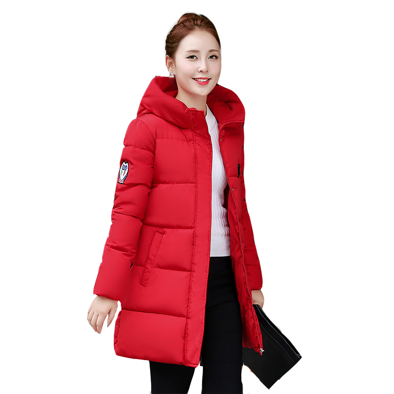 Plus Size 3XL Winter Coat Good Quality Long Women Warm   Parkas   Solid Color Cotton-Padded Outerwear Hooded Jacket Mujer MZ892