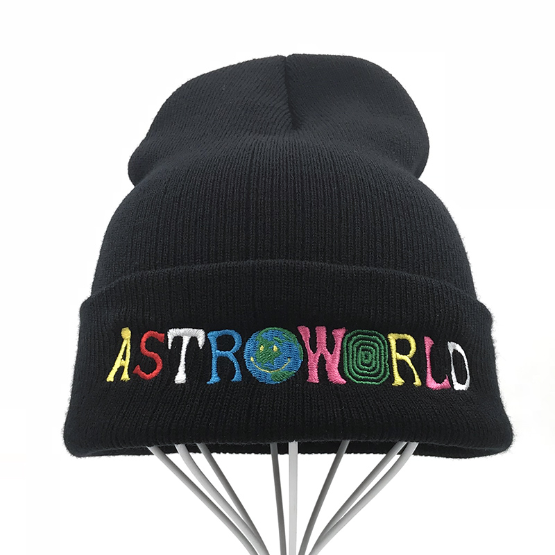 QMWJHJR Knitted Hat 2018 New Embroidery Astroworld Ski Warm Winter Skullies Beanies