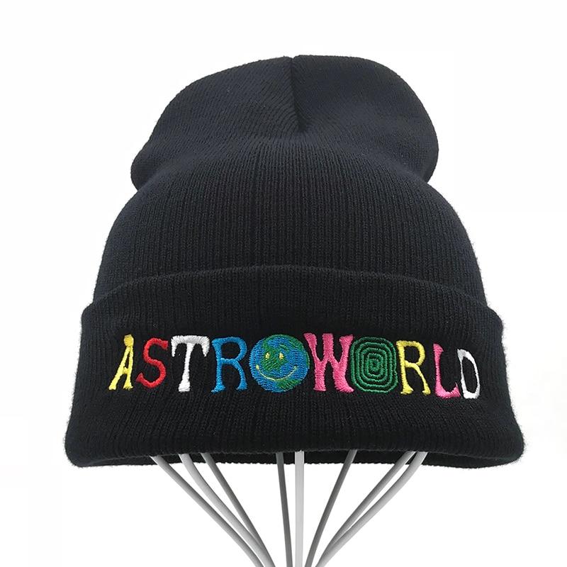 0798f5e7a Travi  Scott Knitted Hat 2018 New ASTROWORLD Beanie embroidery Astroworld  Ski Warm Winter Unisex Travis