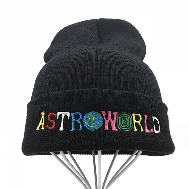 4e39d9b960a Travi  Scott Knitted Hat 2018 New ASTROWORLD Beanie embroidery Astroworld  Ski Warm Winter Unisex Travis Scott Skullies Beanies
