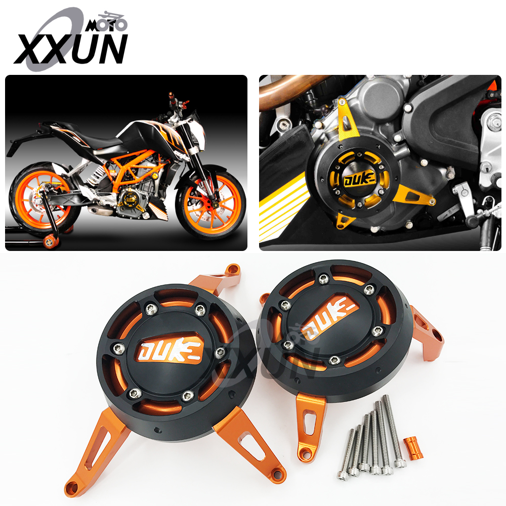 High quality For KTM DUKE 390 2013 2014 2015 Motorcycle CNC Accessories & Parts Engine Guard For KTM DUKE 390 13 14 15 Orange cnc billet engine plug ignition cover plug for ktm 390 duke 2013 2014 2015 2016
