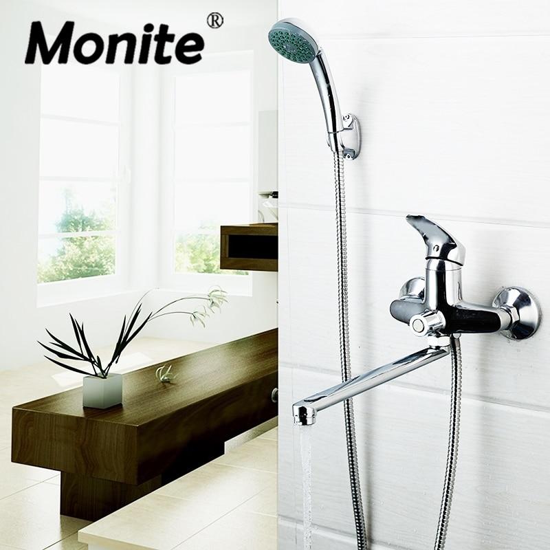 RU Modern Bathroom Shower Faucet Bath Faucet Mixer Tap With Hand Shower Head Shower Faucet Set Wall Mounted
