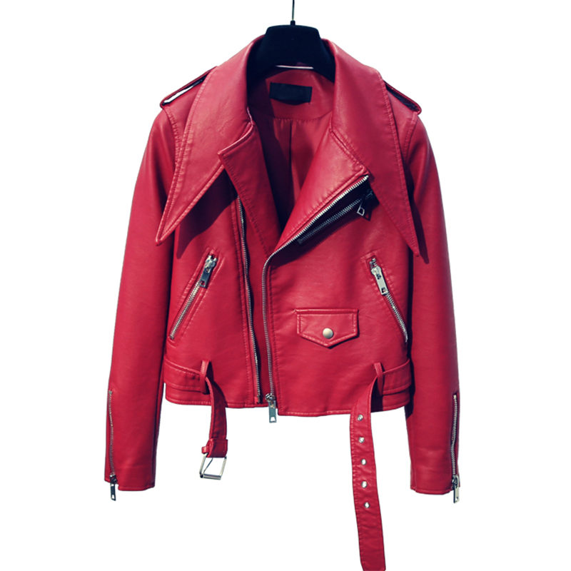 Autumn Red Faux Leather Jacket Women New Motorcycle Short Leather Coat Women Campera Mujer Long Sleeve Black Biker Jacket C4686
