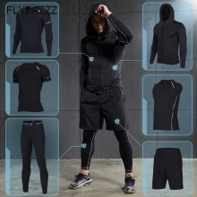 цена Men's Sportswear Compression Sports Suits Training Clothes Workout Gym Tights Jogging Running Set Quick Dry Tracksuit Plus Size