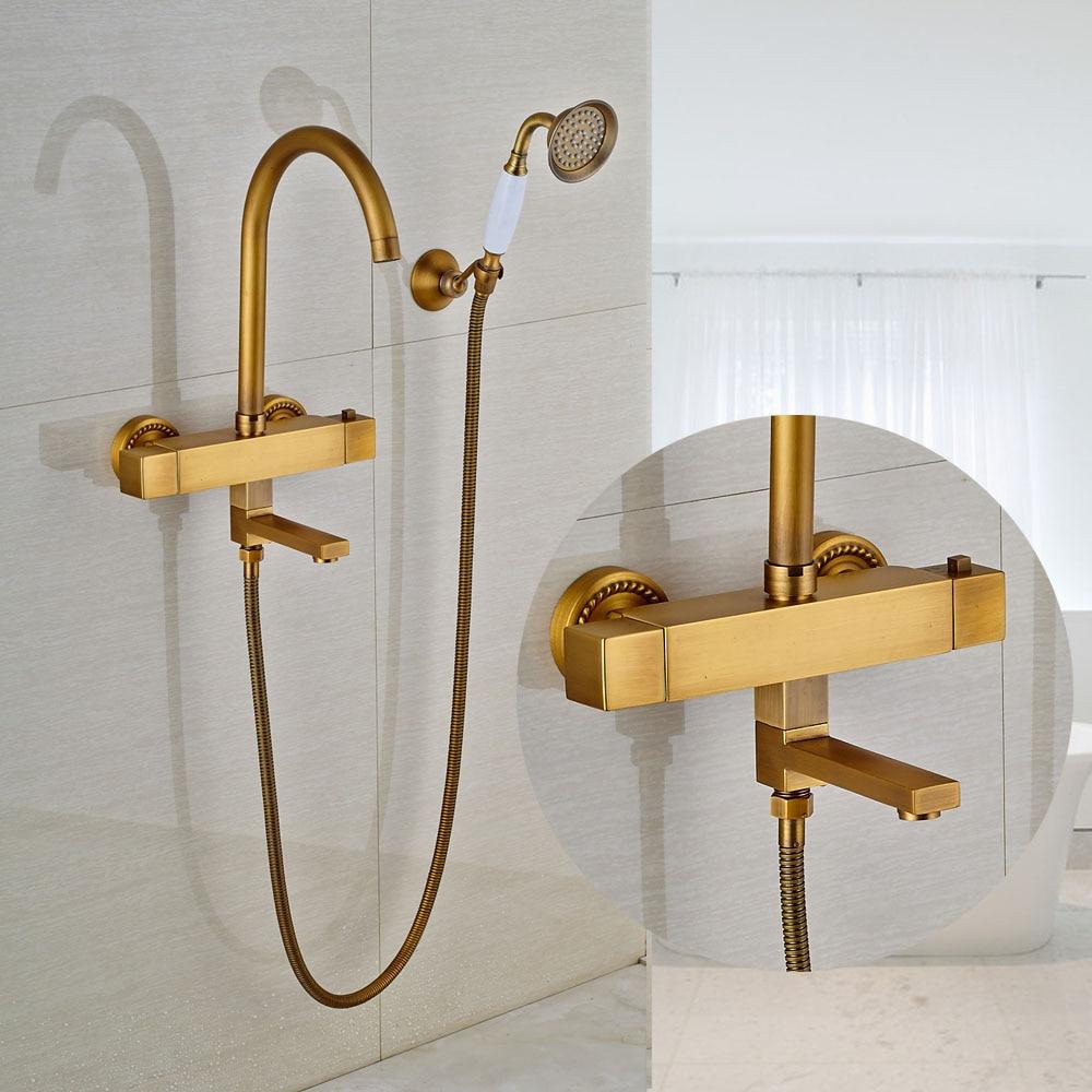 Copper Dual Handle Thermostatic Faucet Bath Brass: Thermostatic Bathroom Shower Faucet With Handheld Shower