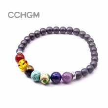 CCHGM Yoga 5 Chakras Bracelets For Women 2017 Sparkling Crystal Healing Balance Beads Natural Lava Stone beads Bracelets Jewelry
