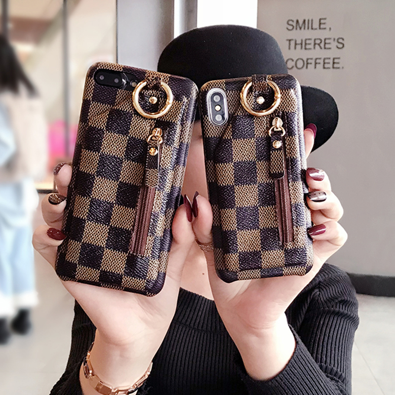 European Luxury Fashion Checkered Square Wallet Soft Leather phone case for iphone 6 6s 6plus 7 7plus 8 8plus X cover