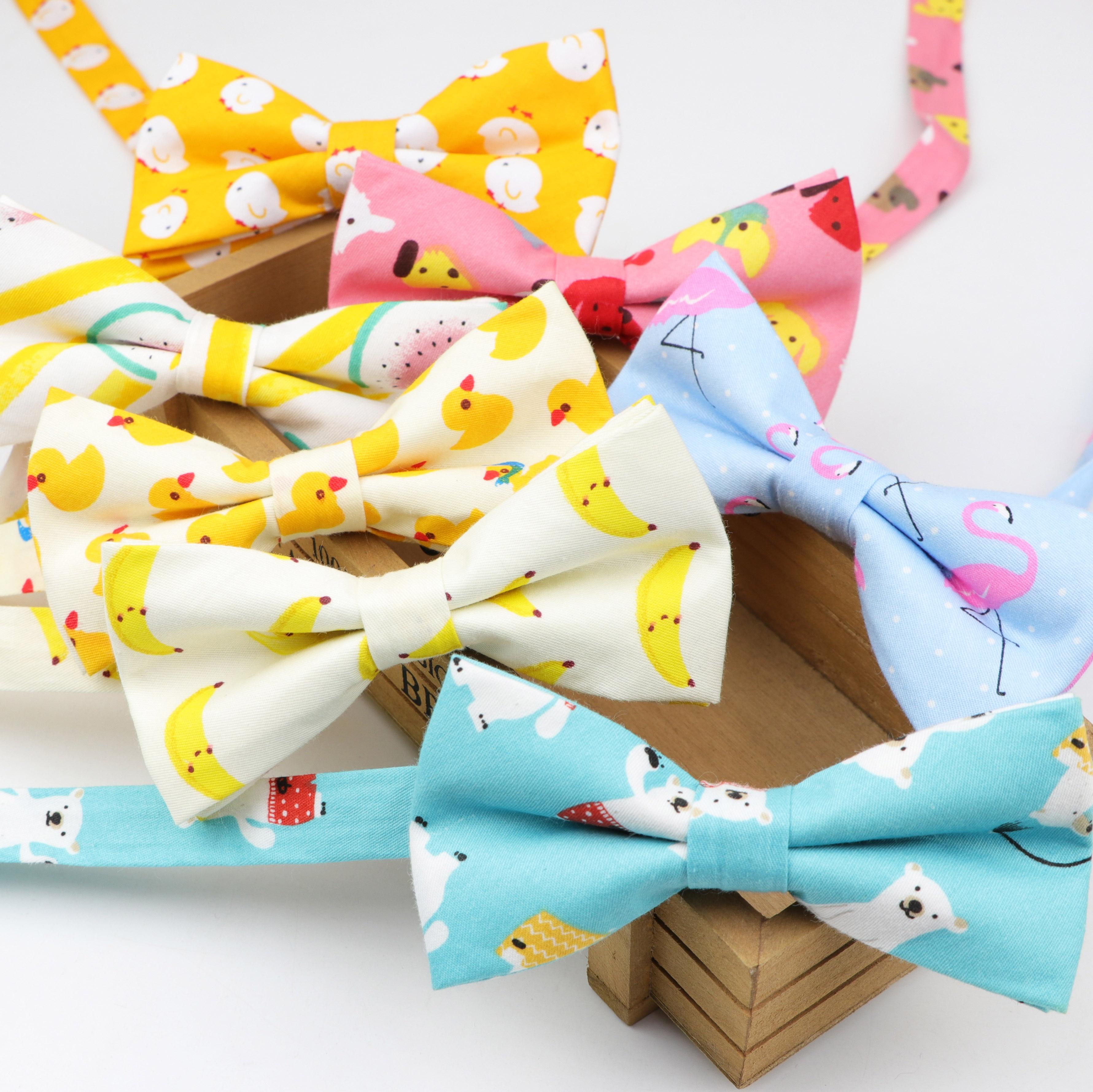 Cotton Bowtie Tuxedo Designer Colorful Butterfly Grid Lattice Kids Children Casual Cravat Bow Tie Dog Duck Chicken Bear Bowties