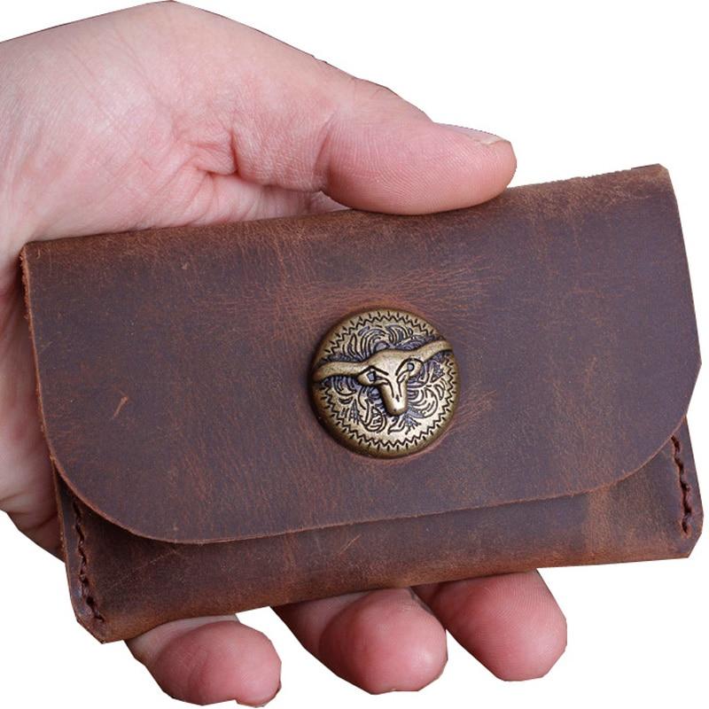 Handmade Genuine Leather Men Business Credit Card Holder Wallet Designer Porte Carte Case For Cards Protector Cardholder Holder