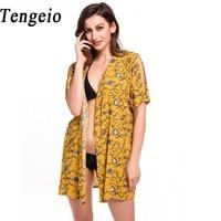 Tengeio Women Kimono Cardigan Blouse 2017 Boho Split Short Sleeve Open Front Floral Print Beach Summer