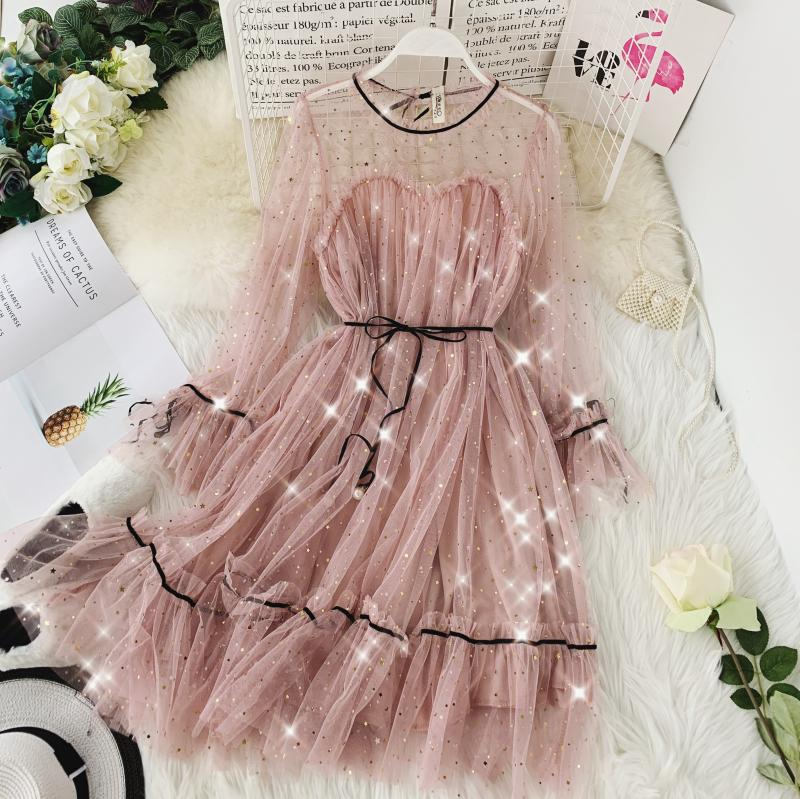 HISUMA spring autumn new women Star sequins gauze flare sleeve lace-up Princess dress female elegant o-neck mesh puff dresses 28