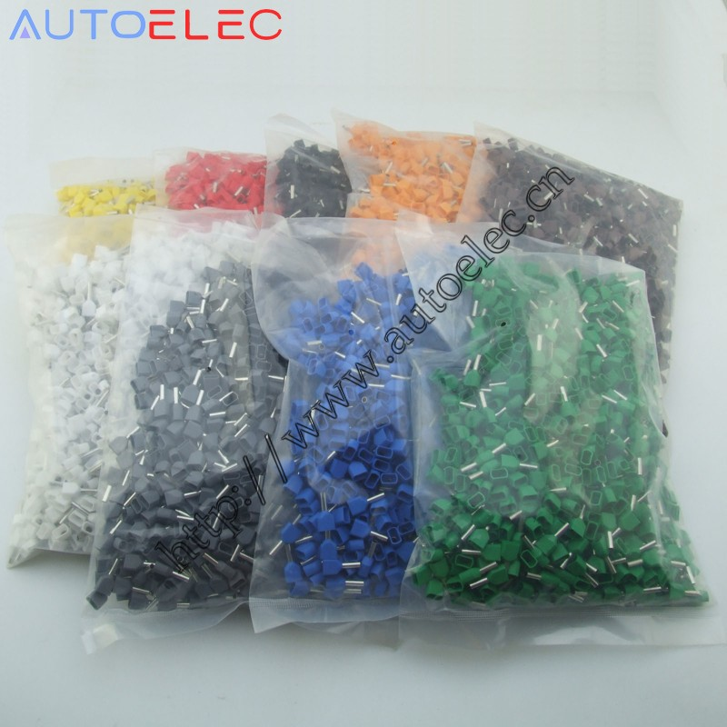 TE1508 1000pcs Wire Ferrules End Sleeve Double Cord End Terminal ...