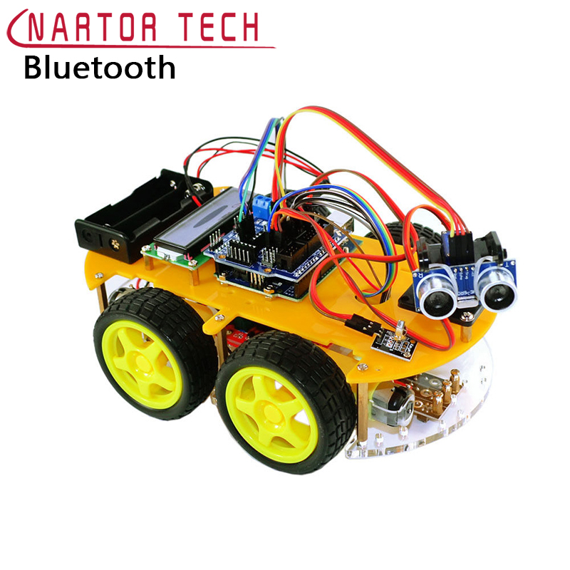 Smart Car Robot Smart Bluetooth Car Tracking Avoid Obstacles 1602 LCD Atmega-328P Line Tracking Graphic Programming