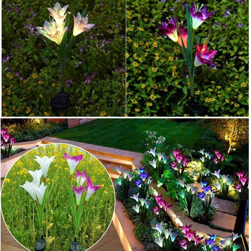 Solar Lights For Garden Decoration LED Solar Lamp Colorful Lily Flower Christmas Outdoor Lighting Waterproof Solar Light (12)