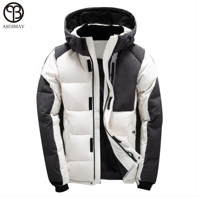 Asesmay мужская зимняя куртка белая утка вниз куртка высокое качество зимние пальто с капюшоном гусиное перо мужской пуховик толстый зимние пальто