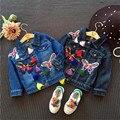 Fast Высокое Качество Детской Одежды 2016 Корейский Милые Случайные Вышивка Джинсы Куртка Пальто Верхней Одежды Девочка Одежды Осень и весна