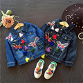 Transporte rápido de Alta Qualidade Crianças Vestuário 2016 Coreano Bonito Casual Bordado Jaqueta Jeans Casaco Outwear Menina Roupas Outono & primavera