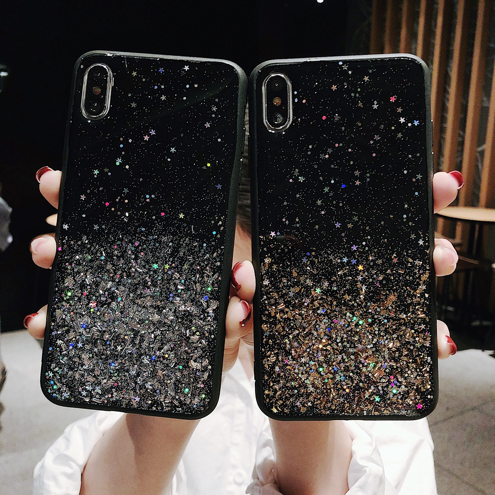 Bling Glitter Gold Foil Star Sparkle Sequins Soft Black Silicone TPU Case Cover For IPhone 6 6s 7 8 Plus 10 X XS XR 11 Pro Max