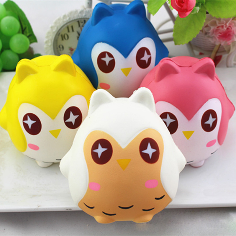 Jumbo 12CM Kids Simulation Owl Soft Squishy Toys Best Selling Squeeze PU Soft Slow Rising Phone Strap DIY Decor Kid Gift