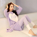 Womens Pajama Set  Femme Lingerie Korean Pink Long Sleeved Full Cotton Pyjamas Home Clothing Mujer Feminino Sleepwear Set