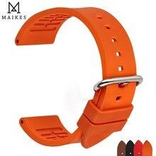 MAIKES איכות אביזרי Fluoro גומי צפו בנד 20mm 22mm 24mm ספורט שעון רצועת רצועת השעון כתום עבור אומגה שעון