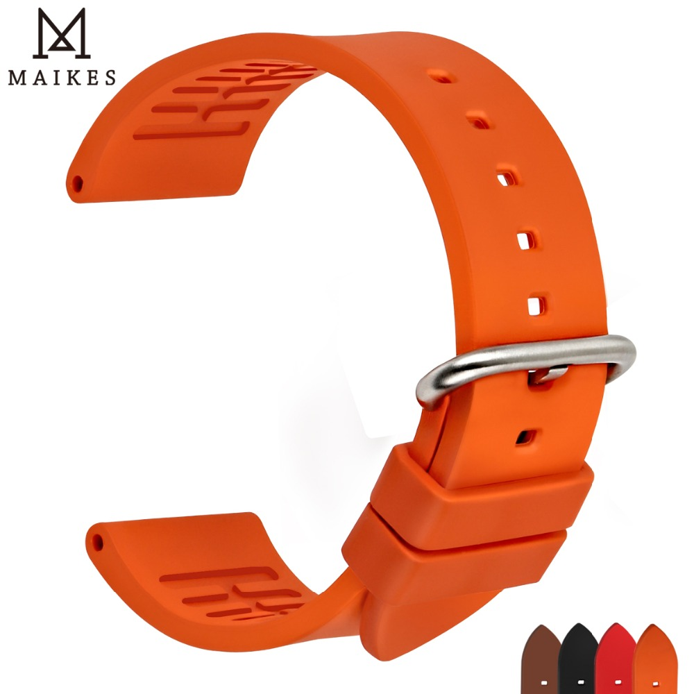 MAIKES Watch Accessories Quality Fluoro Rubber Watch Band 20mm 22mm 24mm Sport Watch Strap Orange Watchband For Omega Watch