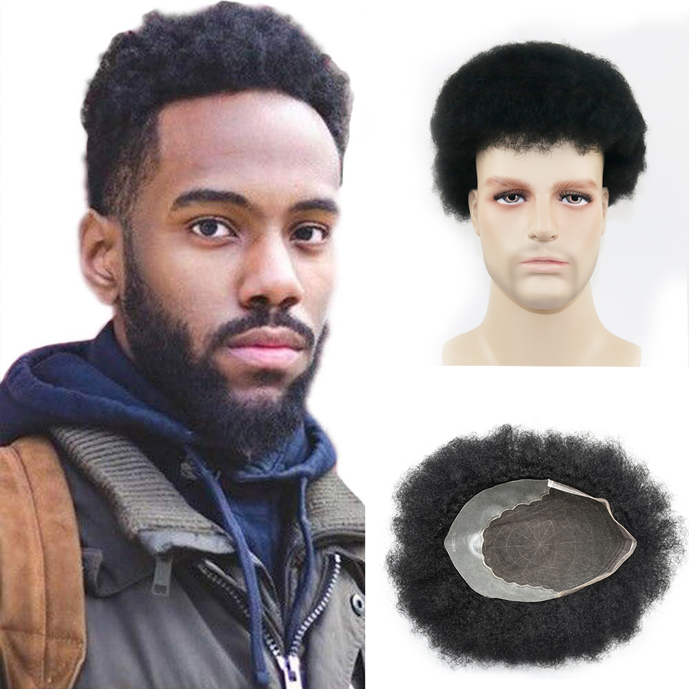 Afro Curly Toupee Super Thin Based Men's Wig 100% Human Hair Q6 Base PU And Swiss Lace Toupee For Men