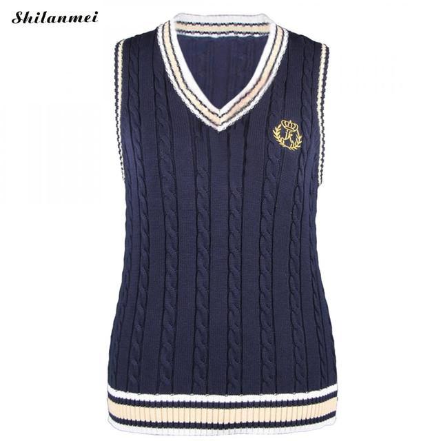Plus Size 5xl Women Vest Knitted Embroidery Sweater V-neck Sleeveless 2017  Korean Japanese School Uniform Sweater Women Knitwear bfbc0f799
