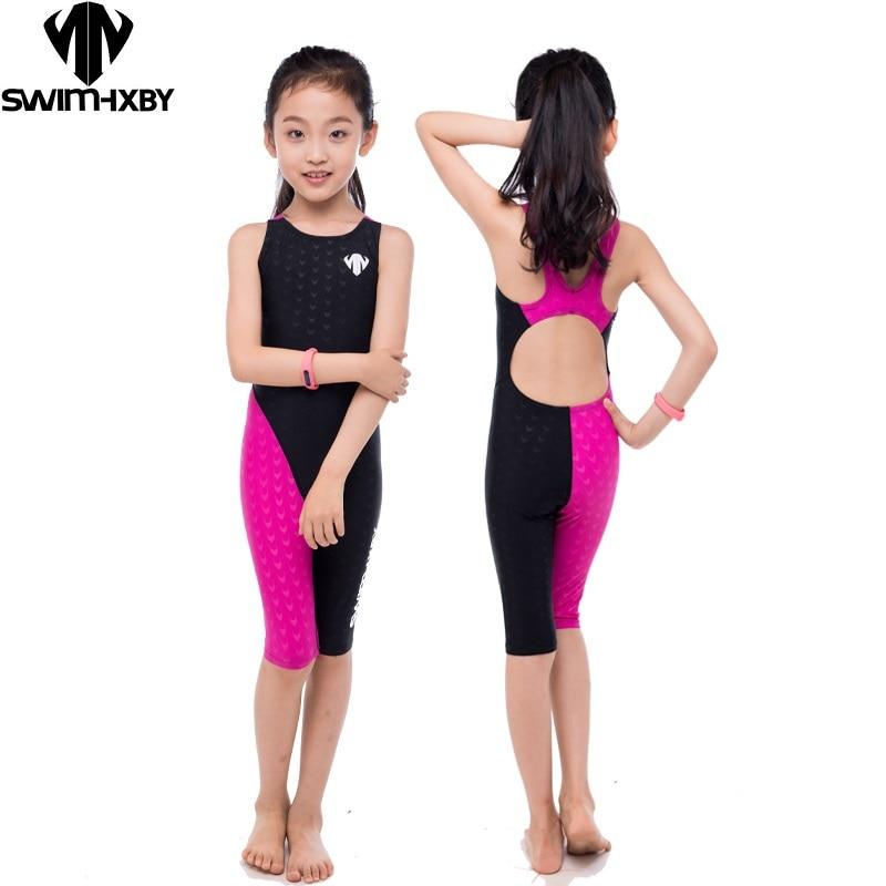 HXBY Professional Kids Swimwear girls Swimsuit Women One Piece Swimwear Professional Swimming Suits Bathing Suit Girls Swim
