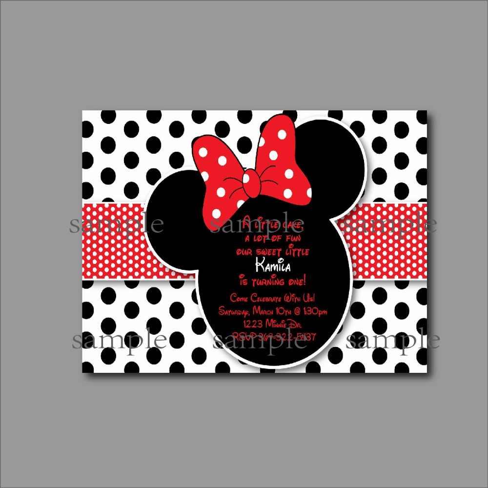20 Pcs Lot Minnie Mouse Birthday Invitation Mickey Baby Shower Invite Kids Party