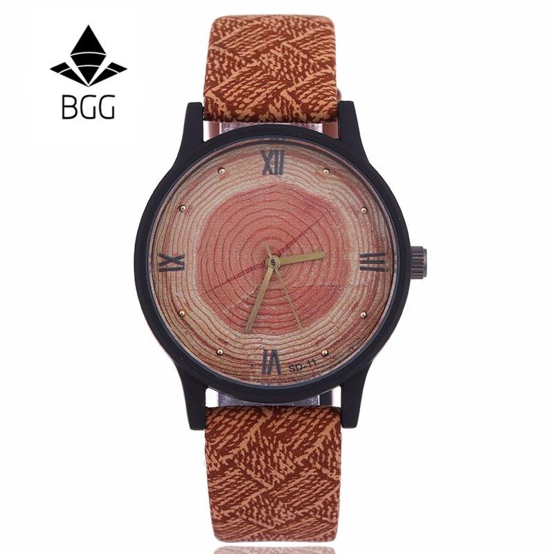नई लकड़ी महिला घड़ियाँ 2016 रेट्रो आकस्मिक BGG ब्रांड विंटेज चमड़ा क्वार्ट्ज घड़ी महिला फैशन सरल चेहरा लकड़ी की पोशाक घड़ी