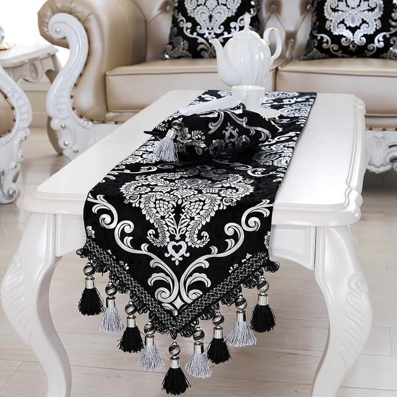 Luxury Europe Runner Silver Plating Bead Tassels Beauty Table Bed Home Room Dec Runner Mat Mat Wholesale FG331