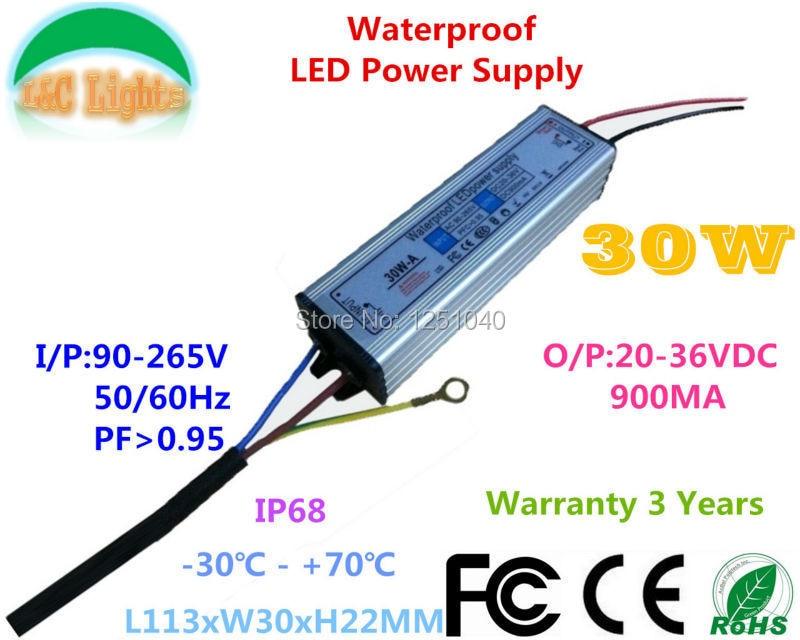 20W 30W IP67 Vandtæt strømforsyning 600mA 900mA LED driveradapter 110V 220V Belysningstransformatorer til LED Floodlight CE RoHS