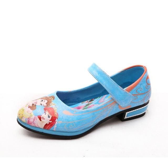 2016 primavera nova moda sapatos de couro Meninas princesa branca de neve sapatos meninas sapatos única Cor Vermelho Azul rosa Tamanho Euro 26-36