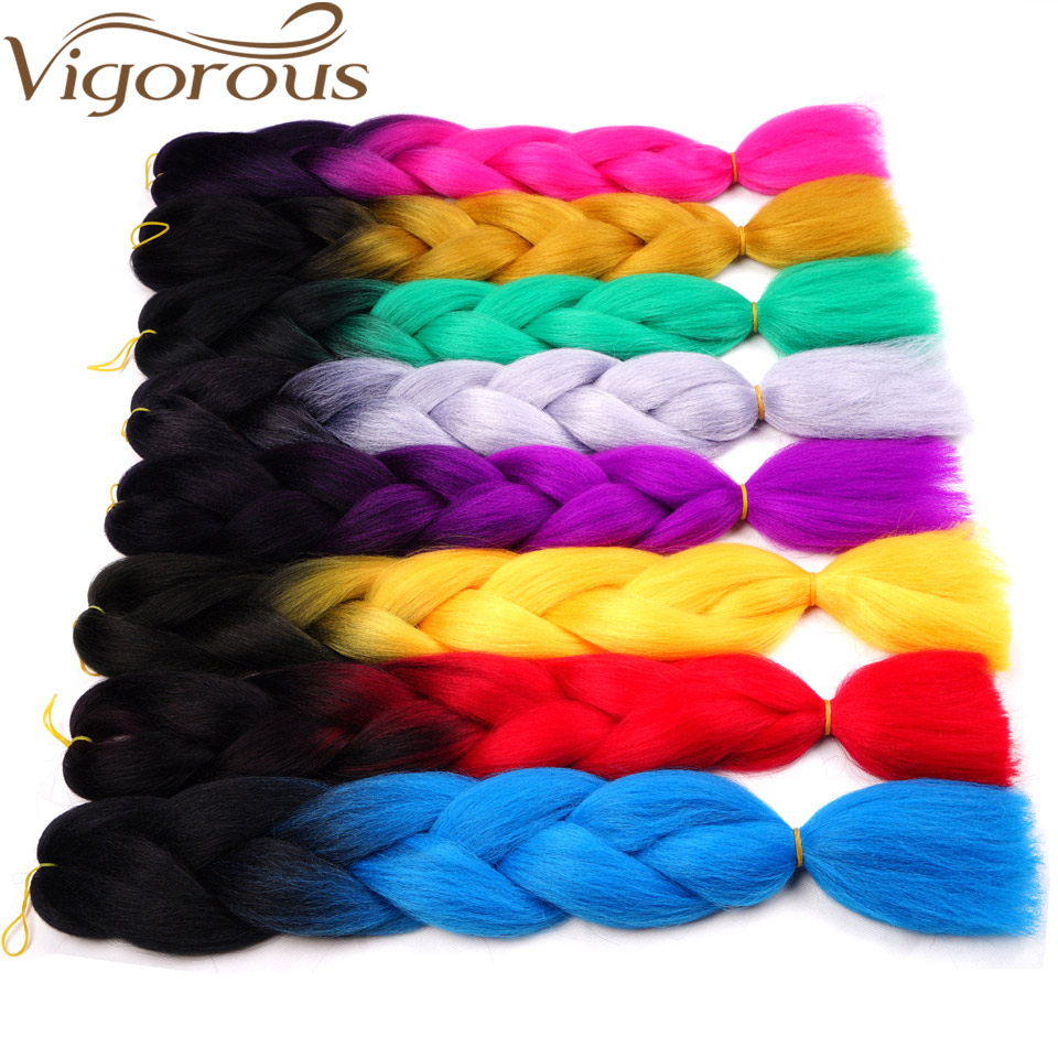 Vigorous 24inch Jumbo Braiding Hair Synthetic Crochet Hair Extensions Black Grey Blue Ombre Colors For Crochet Braids Hair 6PCS
