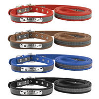 New Arrival Pet Products Reflective Style Soft Leather Small Medium Dog Personalized
