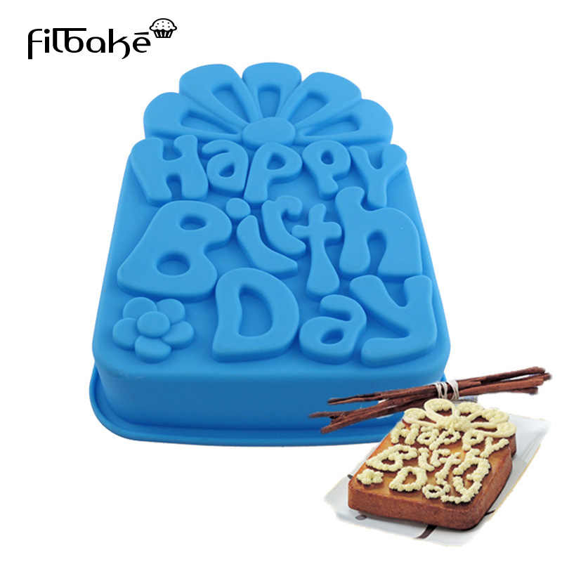 FILBAKE Happy Birthday Flower Pan Nonstick DIY Bakeware Cake Mold Silicone Baking Mould Loaf Pan for