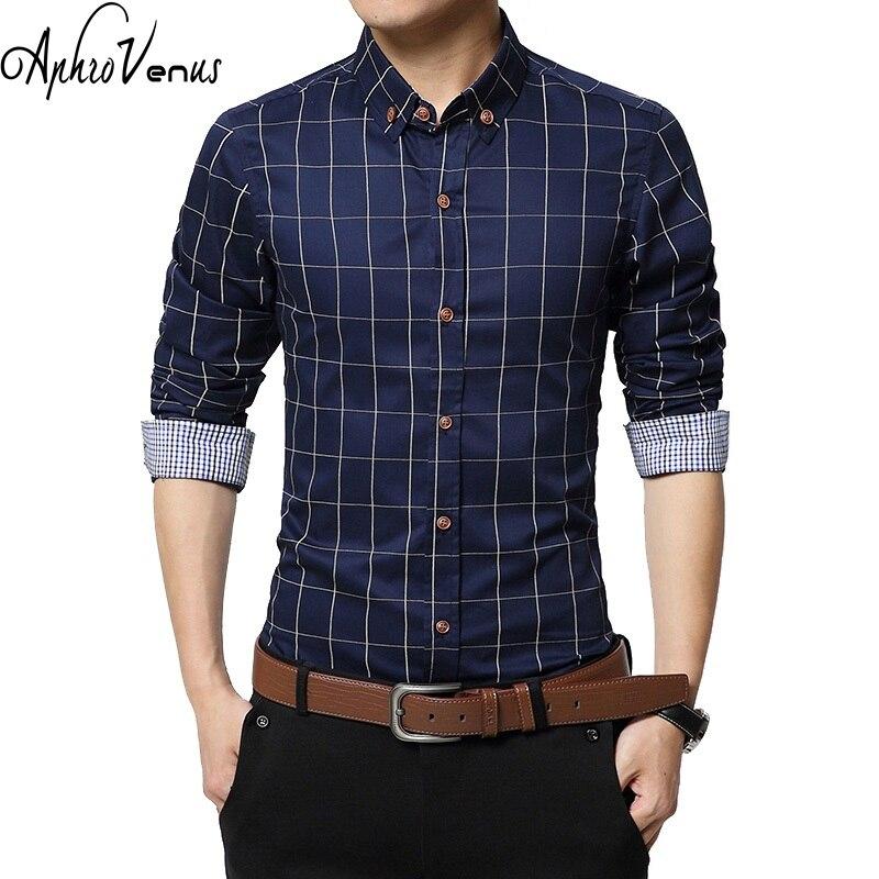 Новые осенние модные брендовые Для мужчин одежда Slim Fit Для мужчин рубашка с длинными рукавами Для мужчин плед хлопок Повседневное Для мужчин рубашка социальной Размеры M-5XL