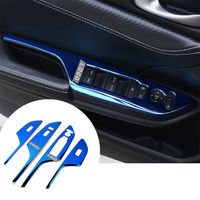 4pcs Blue Car Interior Stainless Steel Door Armrest Window Lift Cover Fit For Honda Civic 2016