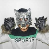 Halloween Masquerade Mask Mask Wolf Animal Suit Gloves Party Toys Movie Theme Props Supply