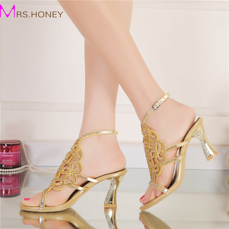 ФОТО Plus Size 44 Bling Bling Gold Rhinestone Shoes Summer Open Toe Chunky Heel Wedding Shoes Ankle Strappy Party Prom Dancing Heels
