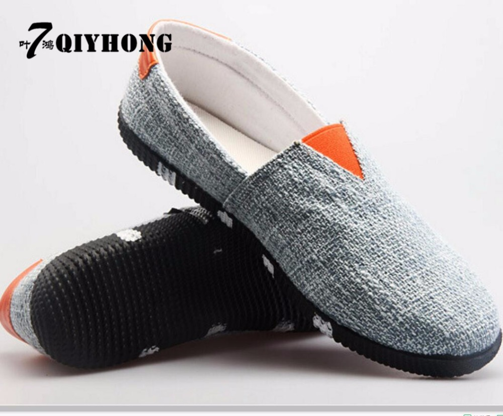 QIYHONG2017 Linen Shoes Summer New MenS Casual Shoes Korean Lazy MenS Shoes Selling Peas Shoes Large Size (40-43)