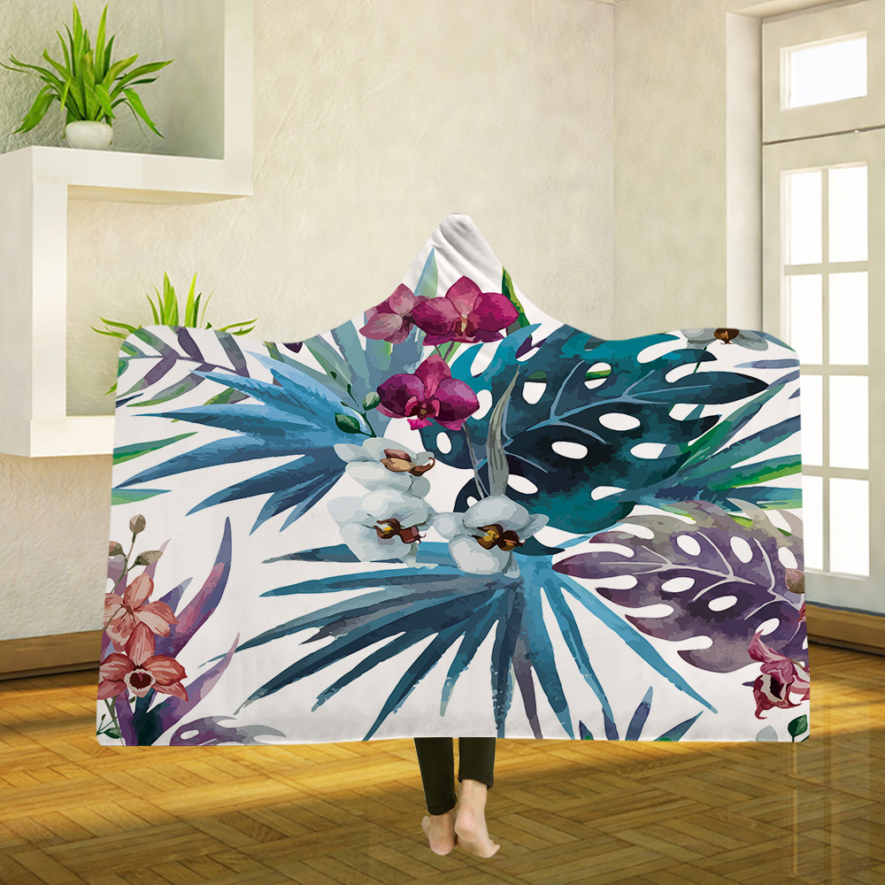 Yoga mat Hooded Blanket Cloak Magic Hat Blanket Thick Double layer Plush 3D Digital Printing Flower Leaves Series in Blankets from Home Garden