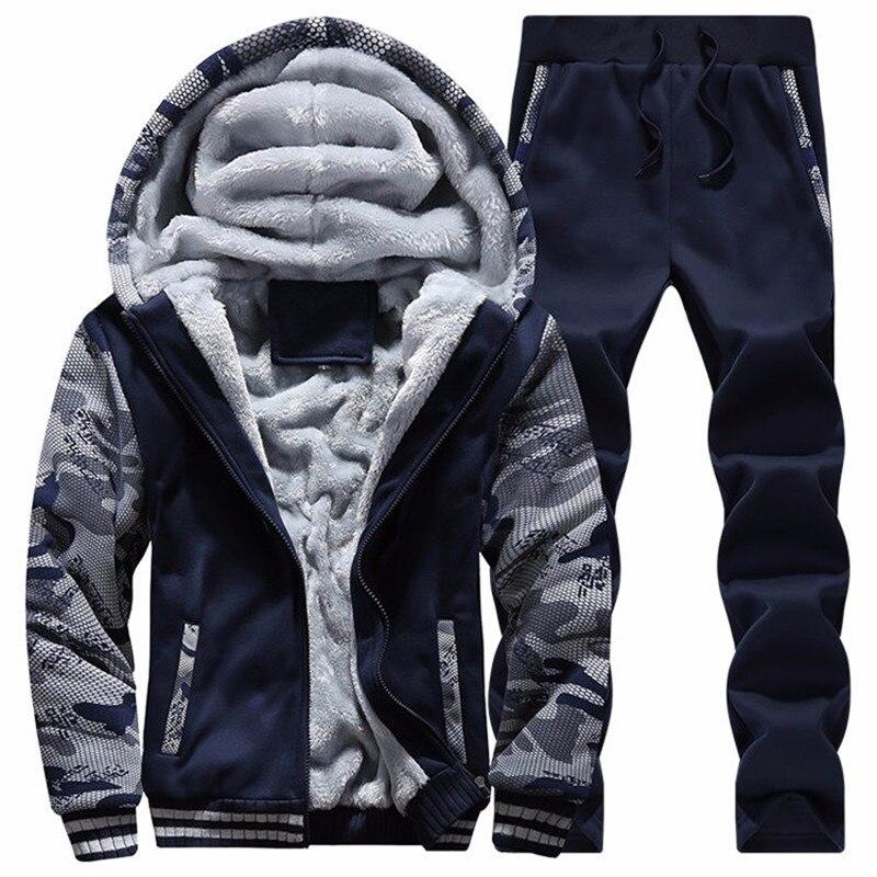 Зимний бренд мужской спортивный костюм из двух частей наборы для ухода за кожей все хлопок Толстая куртка с капюшоном + брюки девоч
